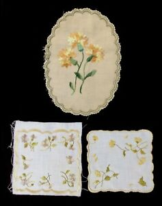 3 Antique Society Silks Embroideries Oval 9x6 5 Pair Of 5 5 X 5 1 Untrimmed