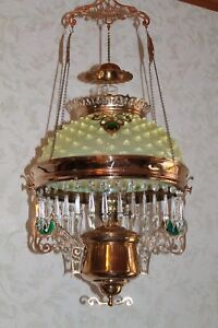 Ultra Rare Pittsburgh Victorian Jeweled Hanging Library Kerosene Oil Lamp