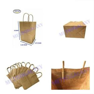 100 Small Kraft Paper Bags Party Shopping Gift Bags Handles Brown 5 25 x3 25 x8