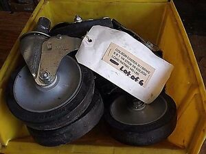 Colson 5 X 1 1 4 Stem 7 8 Load Rate 145 Lb Rubber Wheels W Brakes lot Of 6
