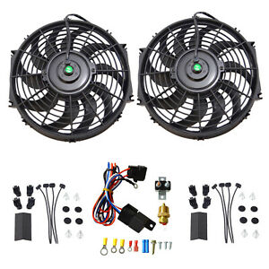 2pcs 12 electric Cooling Fan 12 Volt Push in Radiator Fin Probe thermostat Kit