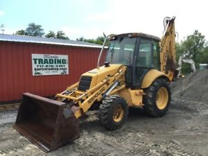 1999 New Holland 575e 4x4 Tractor Loader Backhoe W Cab Extenda Hoe