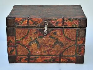 Antique Tibetan Leather Painted Trunk