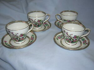 Duchess Bone China Indian Tree Pattern Breakfast Cups Saucers 4 Sets Lot A