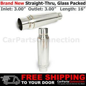 3 In In Out Pair Stainless Steel 12 Inch Glass Pack Muffler Resonator Universal