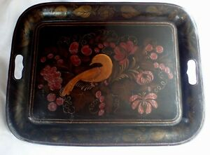 Antique Victorian Large Black Tole Toleware Tray With Bird And Open Handles