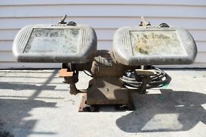 Vintage Atlas Super Power 220 Bench Grinder w Surty Lighted Guard Eye Shield