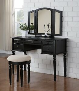 Vanity Table Dressing Mirror Black Dresser Desk Beveled Wood Art Antique Stool