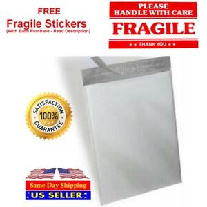 White Poly Mailer Self Seal Shipping Mailing Plastic Bags Red Fragile Sticker