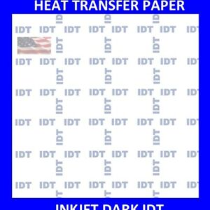 Ink Jet Heat Transfer Paper Iron On Dark T Shirt Idt 1000 Pk 8 5x11 Top Seller