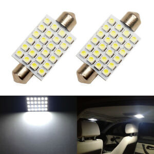 2 X White Led Interior Map Dome Trunk Light 42mm 578 211 2 212 2 Festoon Bulbs