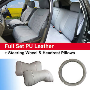 Gray Pu Leather Suede 5 Car Seat Covers Cushion Front Rear Bucket Seat 802551