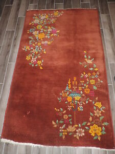 4x7ft Vintage Handmade Chinese Wool Rug
