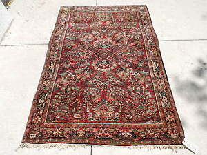 4x6ft Antique Persian Sarouk Wool Rug