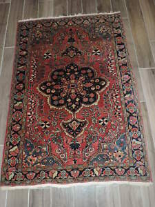 3x5ft Antique Persian Farahan Sarouk Wool Rug