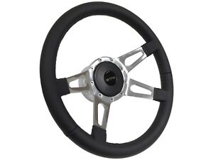 1969 1989 Pontiac Gto 9 Bolt Leather Steering Wheel Kit Quad Slotted Spoke