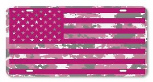Digi Camo American Flag Pink And White Vanity License Plate Car Truck Accessory
