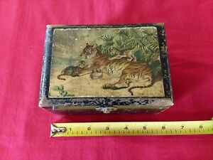 Painted Wooden Box Tiger Portrait Chas S Higgins Orn Picker Find