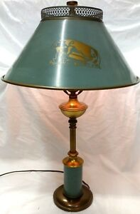 Vintage Mid Century Aqua Marine Tole Metal Desk Table Library Reading Lamp 24 T