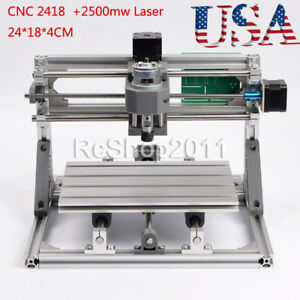 Cnc 2418 3 Axis Pcb Milling Carving Engraving Machine 2500mw Laser 24 18 4cm Us