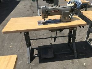 Consew 332 Needke Feed 2 needles 3 16 Gauge Industrial Sewing Machine W Table
