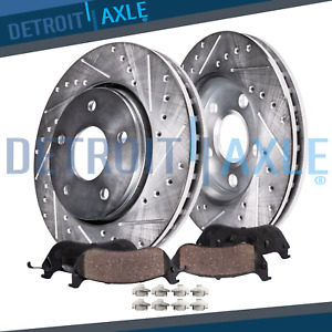 Front Drilled Brake Rotors Ceramic Pads Skylark Cavalier Grand Am Sunfire