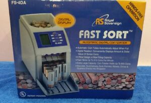 Commercial Electronic 4 Row Digital Coin Sorter Change Counter Fast Sort
