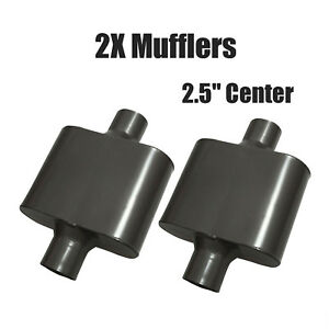 Pair 2 5 Center Single Chamber Performance Race Mufflers Inlet Outlet V425109