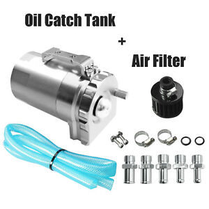 Cylinder Aluminum Engine Oil Catch Reservoir Breather Tank Can Filter Sliver