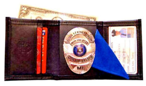 Tri Fold Police Badge Wallet By Pando Leather black Leather Free Shipping
