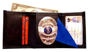 Police Leather Tri Fold Recessed Badge Wallet By Pando Leather Free Shipping