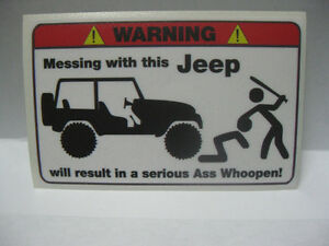 2 Pack Jeep Funny Warning Sticker Chopper Vintage Racing Tattoo Rat Fink Tool
