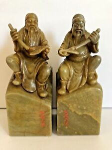 Vintage Green Chinese Shou Shan Soapstone People S Republic Of China Figurines