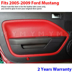 Fits 05 09 Ford Mustang Leather Door Panel Insert Replacement Cover 2pcs Red