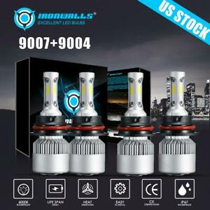 For 1999 2001 Dodge Ram 3500 2500 1500 4pcs Cob Led Headlight Bulbs 9004 9007