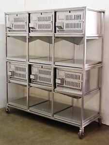 Lab Products Inc Modular Cage Unit 6 Cages Stainless Steel