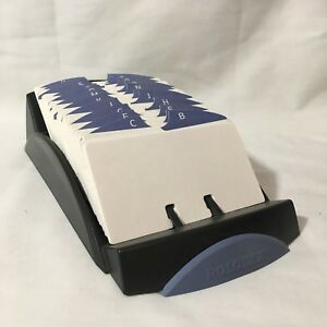 Genuine Rolodex Black Card File With 2 X 5 Cards And Index Guide Tabs