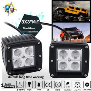 2x 16w 3inch Flood Led Work Light Bar Cube Pods Driving Fog Lights Boat Truck