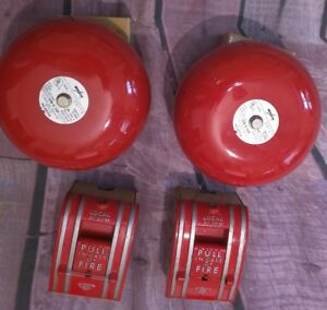 Lot Of 4 Amseco Exb 6 24p Msb6bpv4 Red Fire Alarm Bell 24v Dc 06a