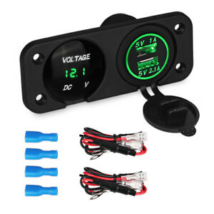 Green Led Switch Panel With Led Voltmeter 12v 3 1a Dual Usb Car Boat Charger