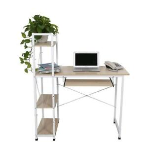 Home Office Workstation Computer Desk With 4 Tiers Shelves And Keyboard Tray