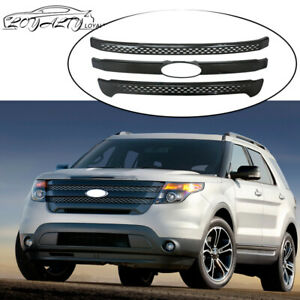 Front Grill Covers For 2011 2015 Ford Explorer Snap On Grille Gloss Black 3 Bars