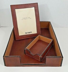 Pier 1 Brown Leather Desk Set 3 Piece Legal Tray Memo Tray