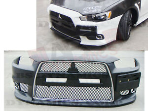Evo X Style Front Bumper Cover For 2008 15 Mitsubishi Lancer Black Unpainted