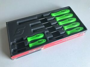 new Snap On 7 pc Combination Green Screwdriver Set Sddx70ag