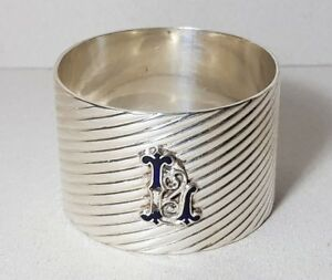 Vintage Silver Plated Single Napkin Ring Monogram Blue Enamel Initial L
