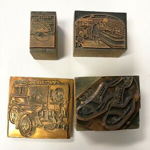 Small Lot Of 5 Vintage Copper Advertisement Printing Press Stamps Rare