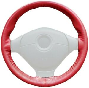 Wheelskins Red Genuine Leather Steering Wheel Cover For Ford size Axx