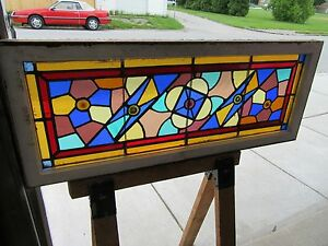 Antique American Stained Glass Transom Window 48 X 19 Salvage