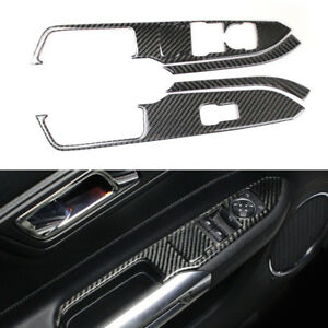 Carbon Fiber Interior Window Switch Lock Cover Trim For Ford Mustang 2015 2018